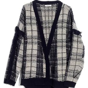 Madewell Plaid Fringe Cardigan Sweater